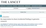 Lancet publishes Genomethicsresearch